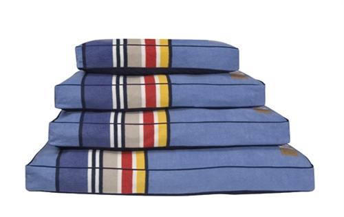 Blue Yosemite tuff Berber dog mattress with colorful strip accents -pendelton