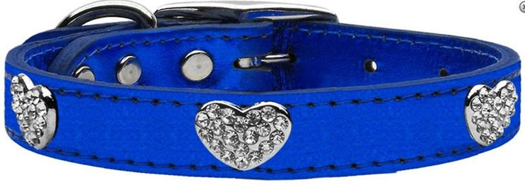 blue metallic leather collar