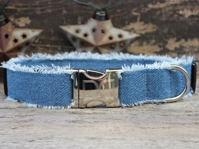 Blue jeans dog collar with metal buckle