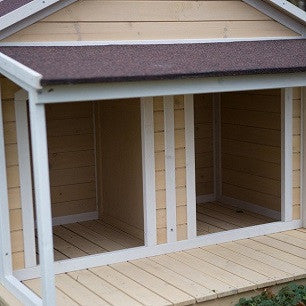 wooden two dog house