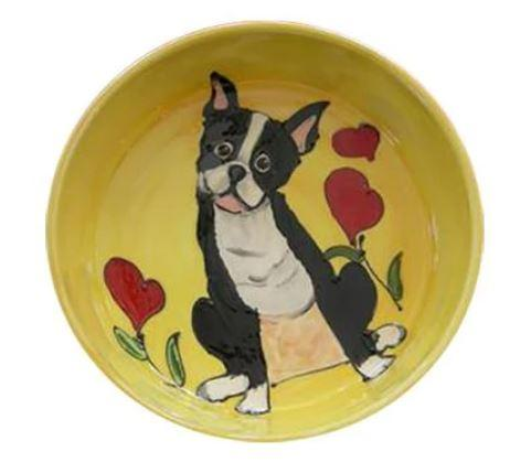 boston ceramic bowl with heart flowers