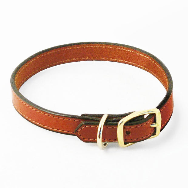 Weaver Brown Leather Collar with Gold Buckle hardware