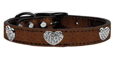 Bronze Heart Dog Collar Metallic