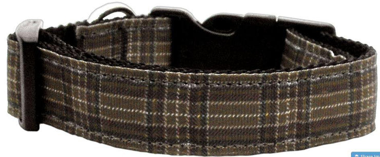 Plaid Woven Dog Collar -brown