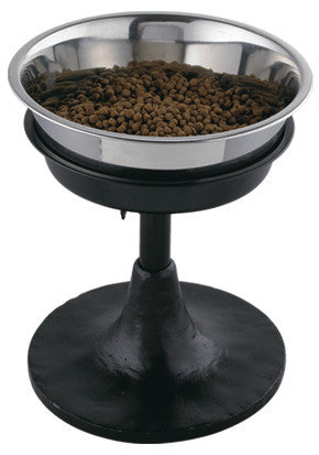 Barstool Adjustable Elevated Dog Bowl feeder -Wrought Iron
