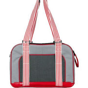 Pink Candy Stripe Pet Carrier Bag with mesh