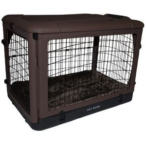 Chocolate Brown Steel Pet Crate with Wheels