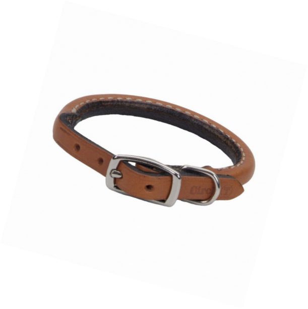 Rounded Latigo Leather Dog Collar
