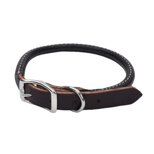 Circle T Rounded Leather Dog Collar  -black