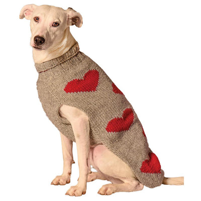 Pet Sweater with Red Hearts is super thick and warm