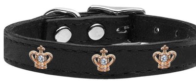 jeweled crown leather dog collar black