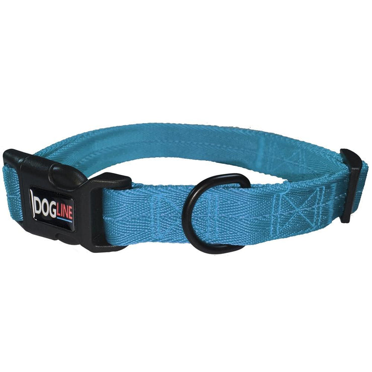 cyan embroidered dog collar with name