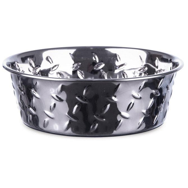 Stainless steel bowl with stamped diamond pattern design