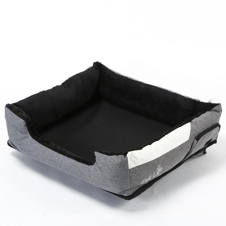 Gray pet heating cooling bed