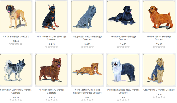 dog breed beverage coasters examples 3