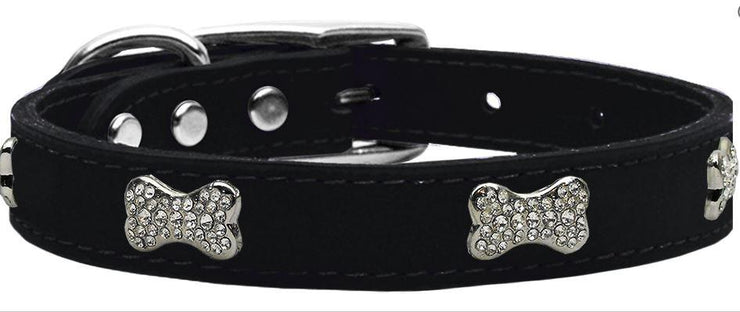 black dog collar leather crystal bone
