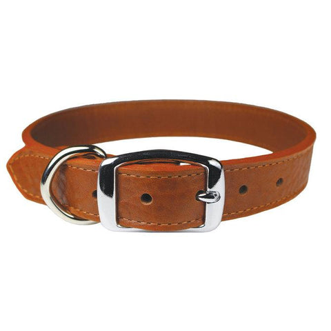 tobacco color-leather dog collar 1 inch wide