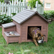 dog house with 2 bowl raised feeder and food storage bin