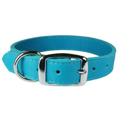 Wide Leather Luxe Dog Collar- Turquoise