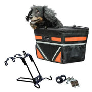 orange pet bicycle basket