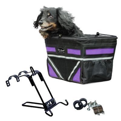purple accent black bike basket