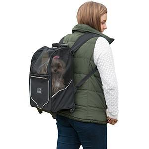 tiny dog backpack carrier w wheels -black