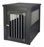 Espresso Black Dog Crate with Steel Slats