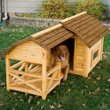 Large Cedar Barn DogHouse with covered porch