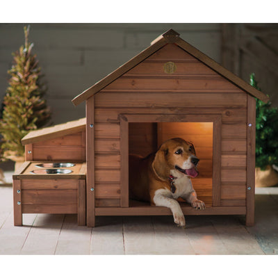 dog house feeder storage combo - Walnut