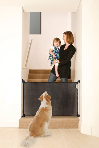 Retractable Black Fabric Dog Gate Keeps Pets Contained