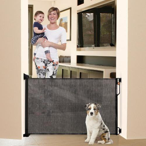 Retractable Black Fabric Dog Gate Officialdoghouse