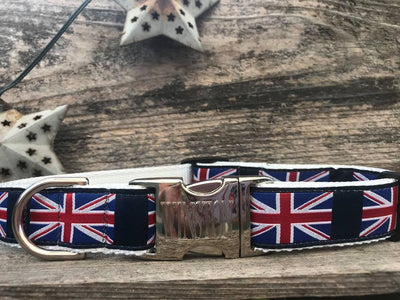 Union jack engraved metal buckle dog collar
