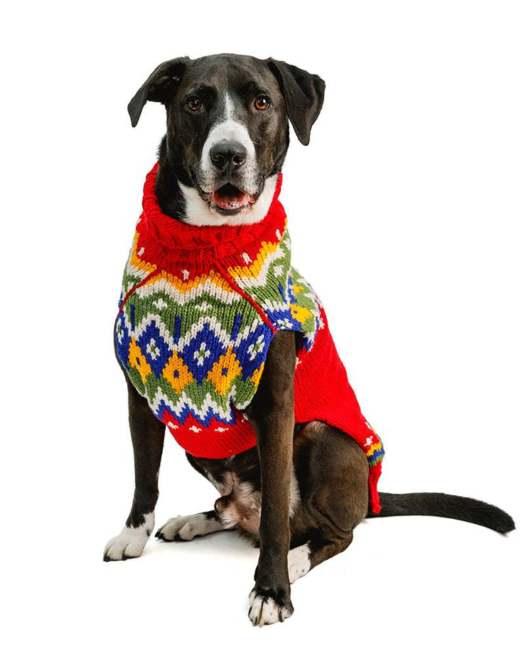 fair isle warm dog sweater