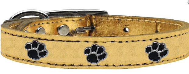 Mettalic Leather Dog Collar with Paw Studs