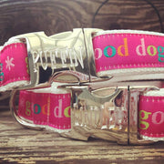 good dog pink engraved buckle collar