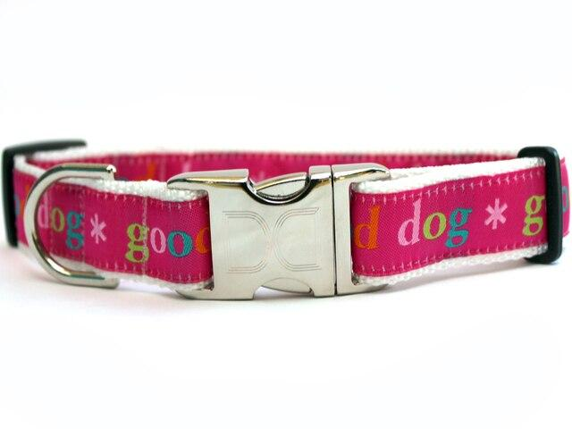 pink with white accent border good dog collars