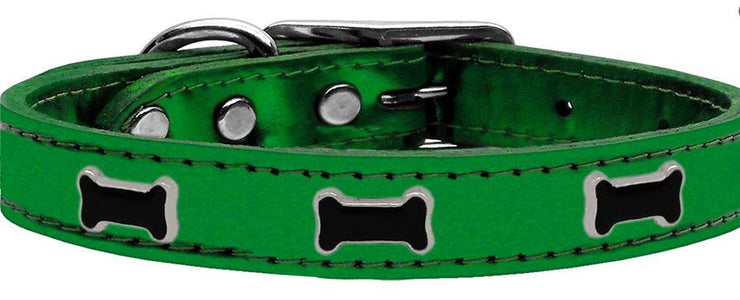 green metallic bone emblem collar
