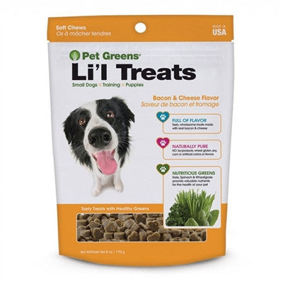 Bacon cheese flavor kale spinach and wheatgrass treats for dogs