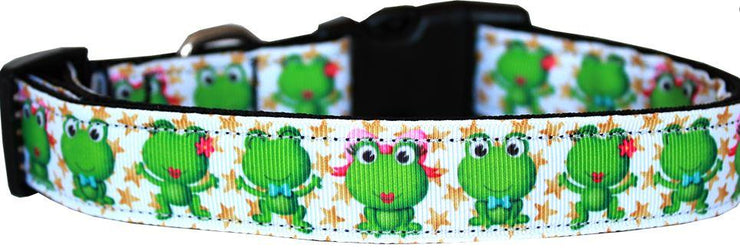 Happy Frog White Nylon Dog Collar
