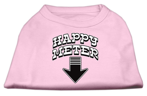 pink happy meter dog shirt with arrow pointing to tail
