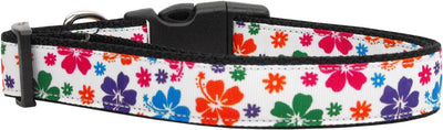 Hawaiian hibiscus print ribbon collar