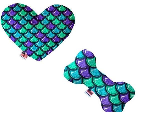 Canvas dog toy heart or bone with mermaid scales print pattern