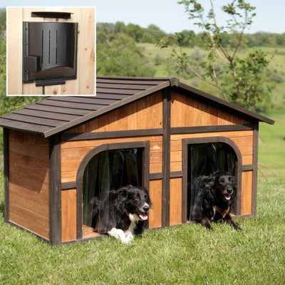 large 2 door real wood dog house