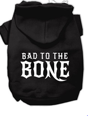 bad to the bone large dog hoodie  -black