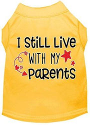 yellow dog shirt i live with my parents