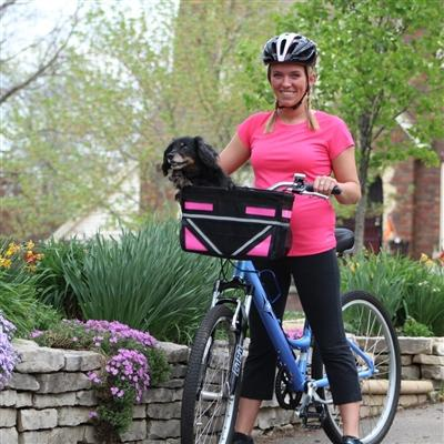 black and pink bicycle basket for small dog