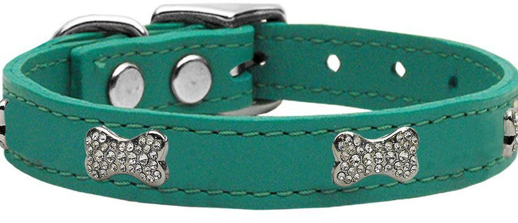 leather dog collar crystal bone -jade