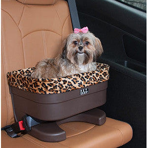 Jaguar print solid base dog booster seat -small