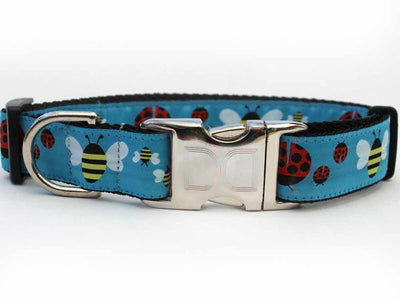 Bumble Bees and Lady Bugs print collar