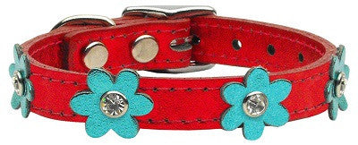 Red leather with flowers small collar